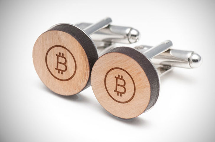 Stylish Wooden Bitcoin Cufflinks