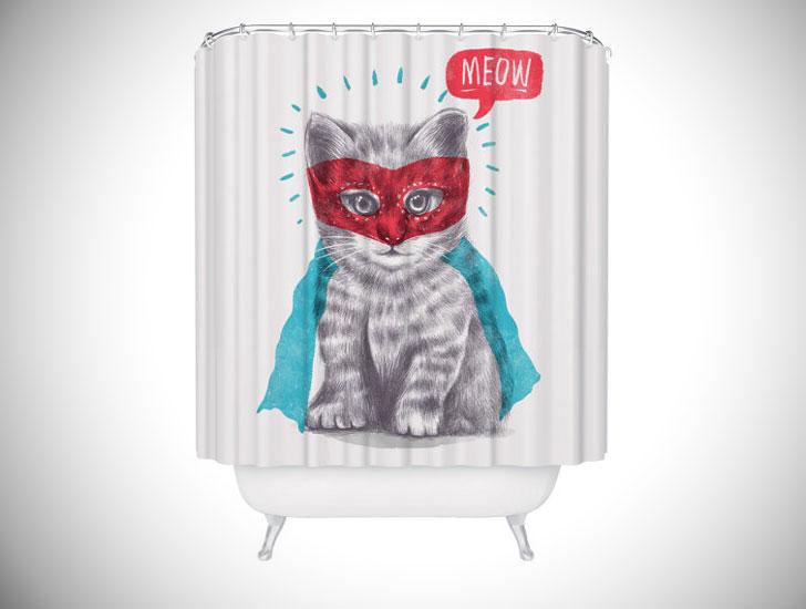 Super Hero Cat Lover Shower Curtain