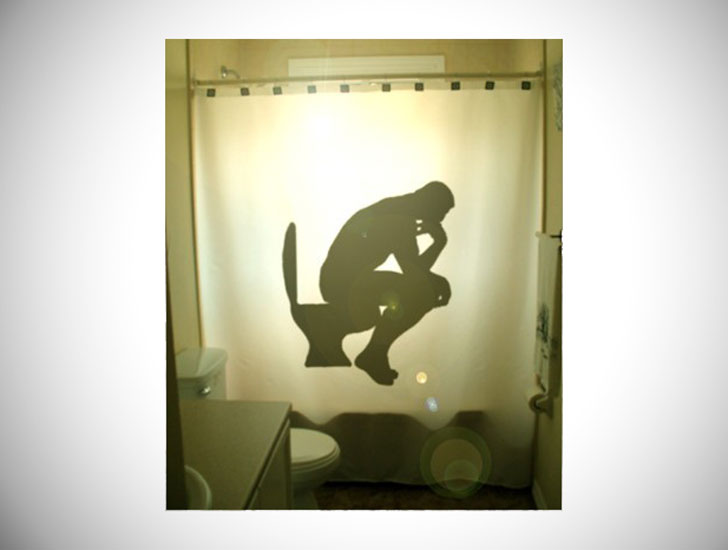 The Thinker Funny Shower Curtain