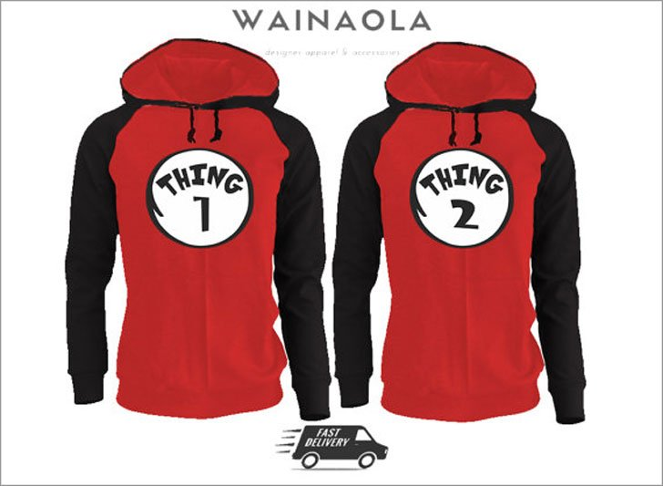 Thing 1 And Thing 2 Couples Hoodies