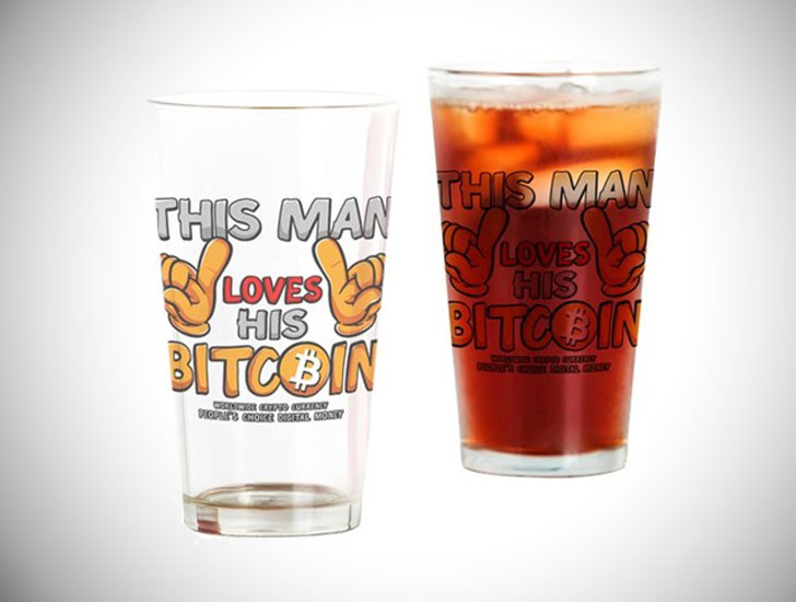 This Man Loves His Bitcoin Drinking Glass