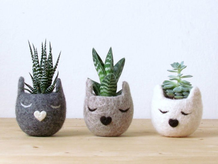 Three-Piece Cute Cat Planters Set