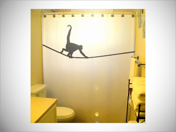 Tightrope Monkey Shower Curtain
