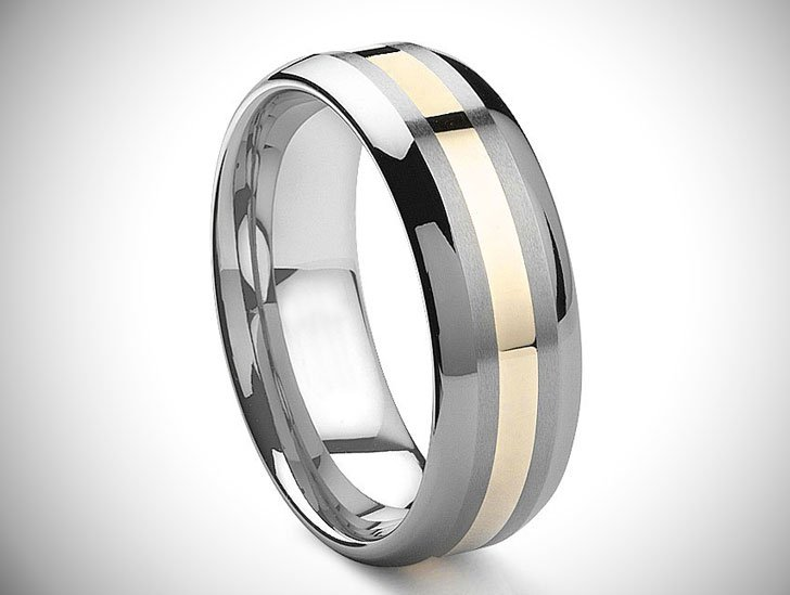 Tungsten Carbide 14K Gold Inlay Wedding Band