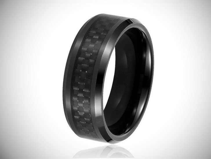 Tungsten Carbide Carbon Fiber Wedding Band - Tungsten Carbide Rings