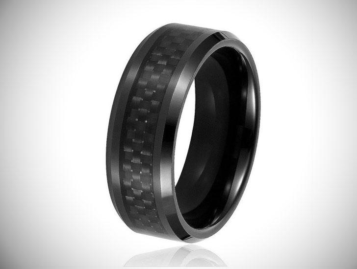 Tungsten Carbide Carbon Fiber Wedding Band - Tungsten Carbide Rings