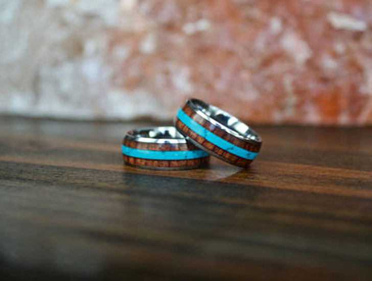 Tungsten Carbide Wood and Turquoise Ring