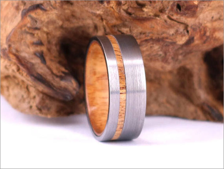 Tungsten Wedding Band Lined With Exotic Koa Wood