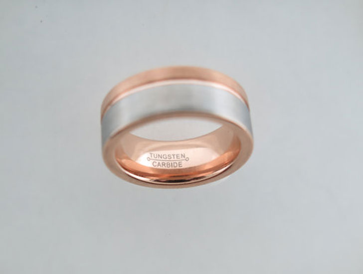 Two-Tone Rose Gold Brushed Unisex Tungsten Carbide Rings - Tungsten Carbide Rings