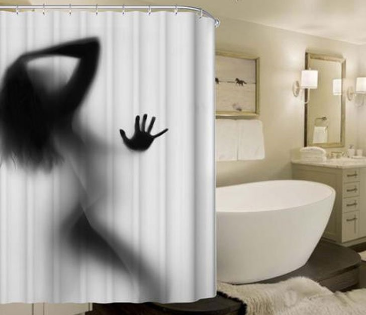 Women Silhouette Shower Curtain - Funny adult shower curtain
