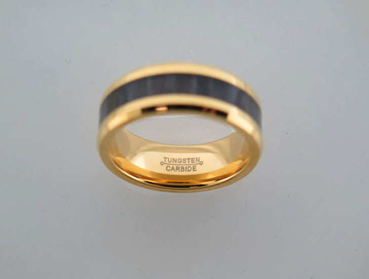 Yellow Gold Tungsten Carbide Unisex Ring with Black Wood inlay