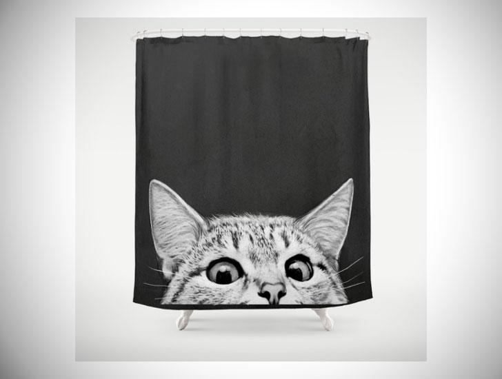 Funny Peeking Cat Shower Curtain