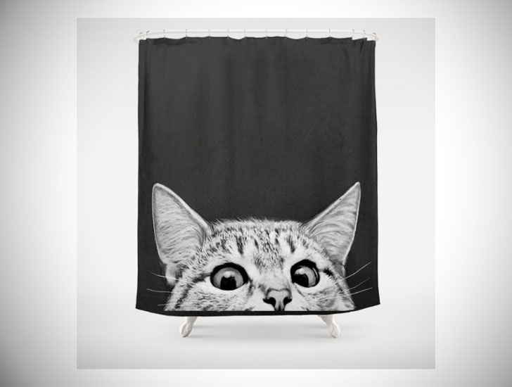 Funny Peeking Cat Shower Curtain
