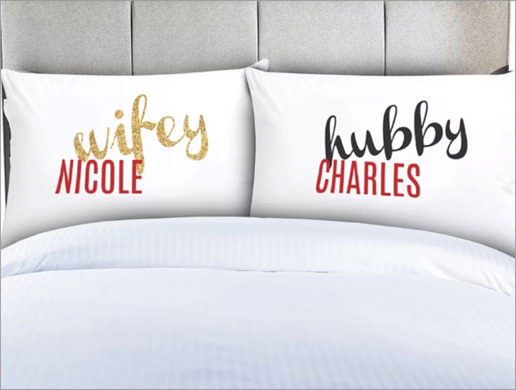 Personalized Hubby and Wifey Couples Pillow Cases