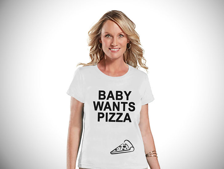 Baby Wants Pizza Pregnancy Reveal T-Shirts - Pregnancy Announcement Shirts