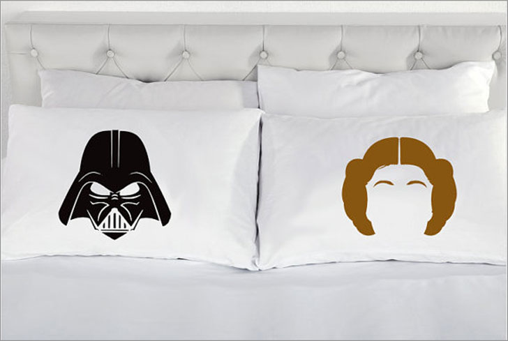 Darth Vader and Princess Leia Custom Couple Pillow Cases