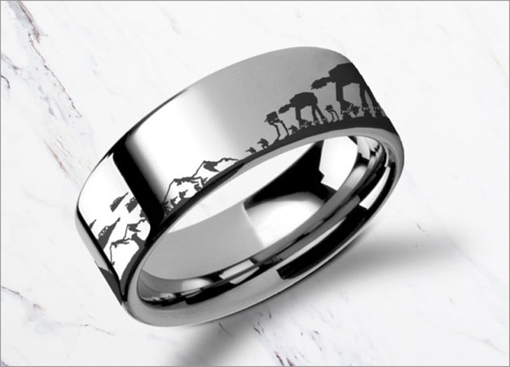 Engraved Star Wars Battle of the Hoth Scene ATAT ATST Tungsten Ring