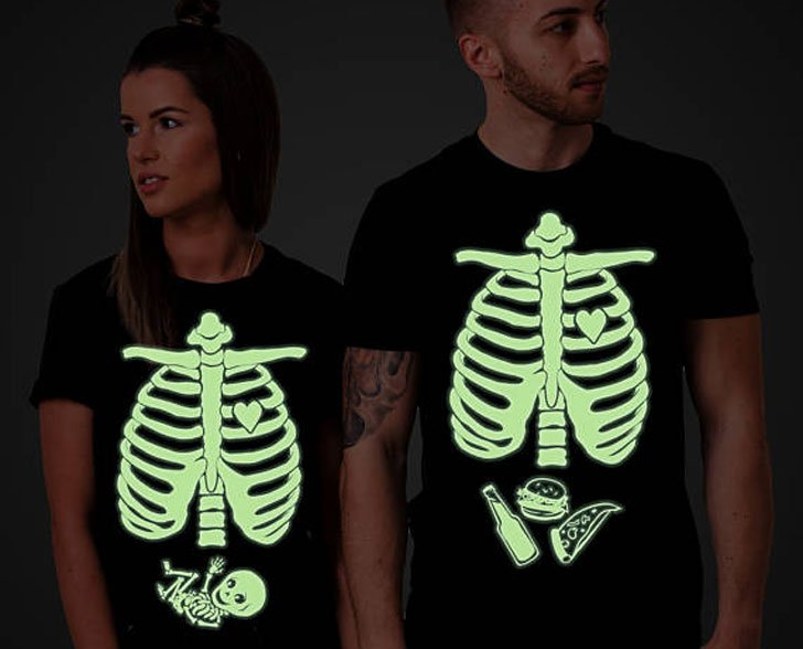 glow in the dark halloween maternity shirts pregnancy announcement shirts