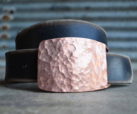 Hammered Copper Belt Buckle