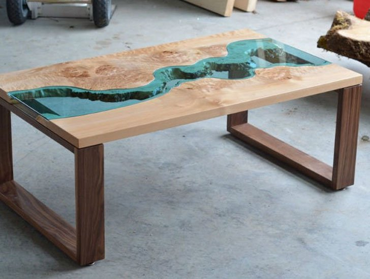 Maple & Walnut Modern River Coffee Tables