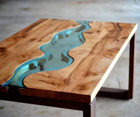 Maple & Walnut Modern River Coffee Tables