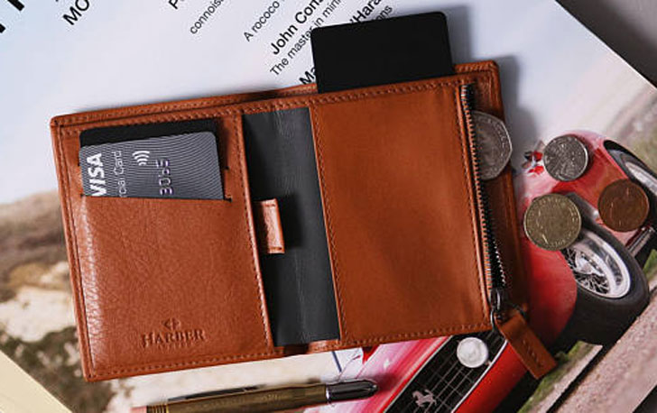 Mens Bifold Zip Slim Leather Wallet with RFID Blocking
