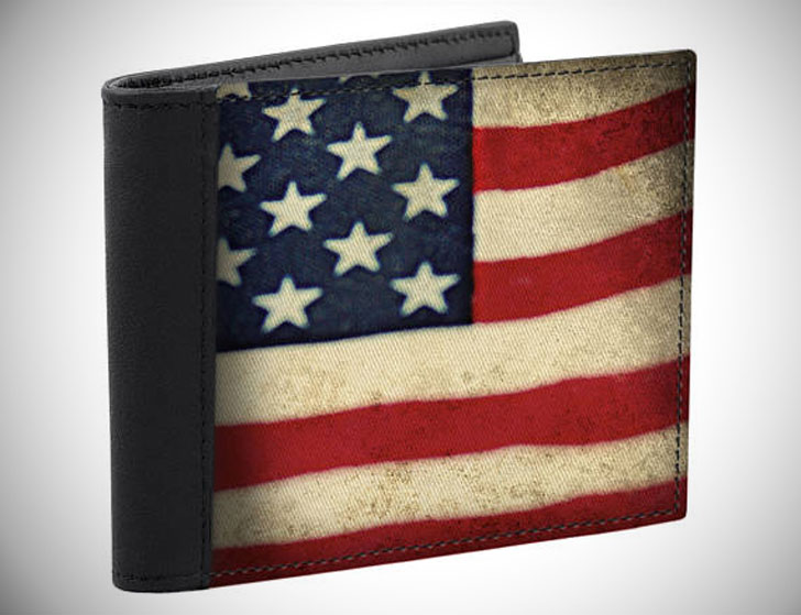 Men's Leather USA Flag Wallet
