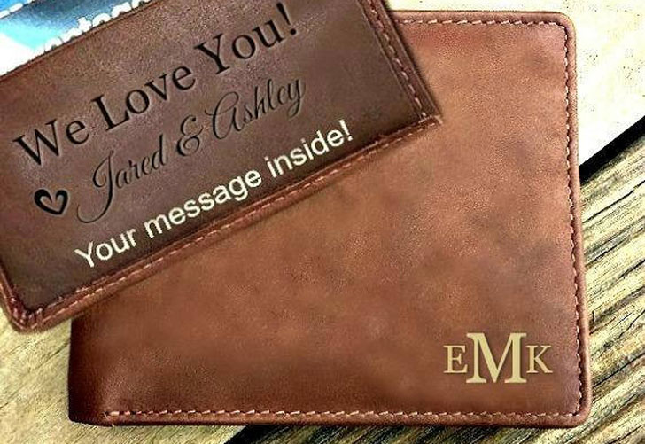 Personalized Message Leather RFID Wallet