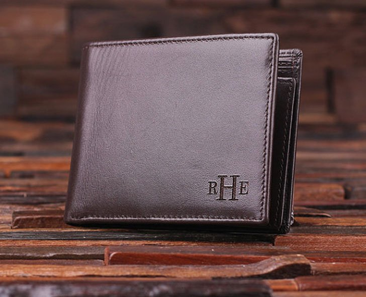 Personalized Monogrammed Genuine Leather Bifold Wallet