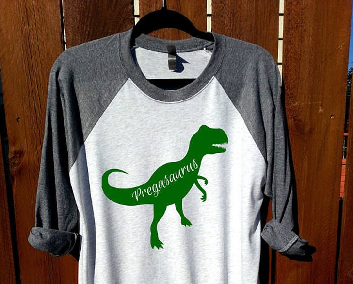 Pregasaurus Pregnancy Announcement Long Sleeve Shirts