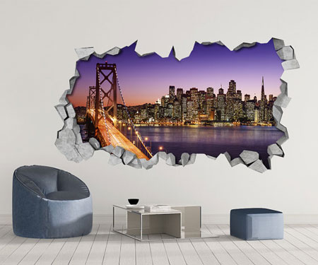 San Francisco Skyline 3D Wall Decal