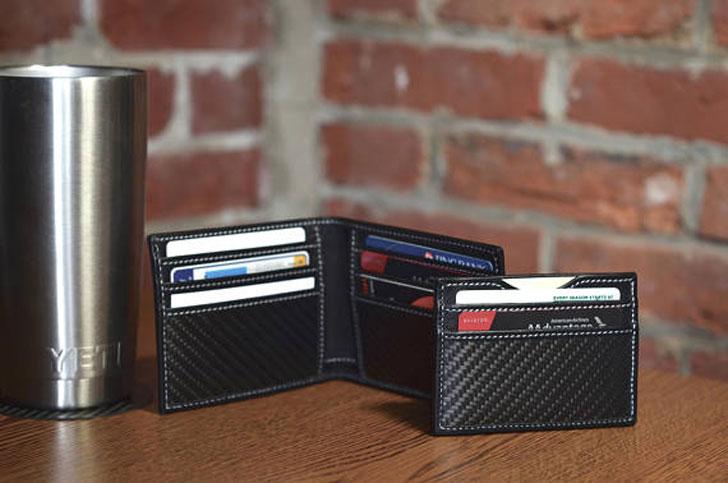 Slim Carbon Fiber and Full Grain Leather RFID Blocking Wallets