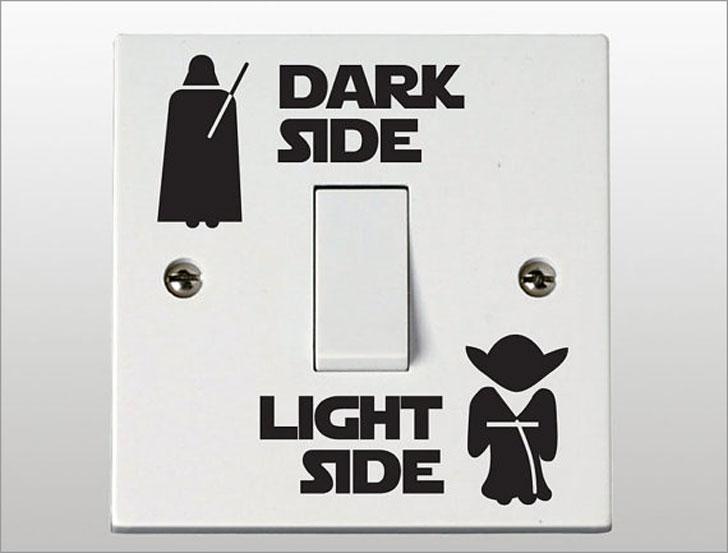 Star Wars Dark Side / Light Side Light Switch Decals