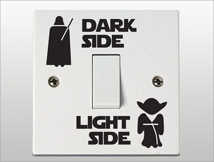 Star Wars Dark Side / Light Side Light Switch Decals