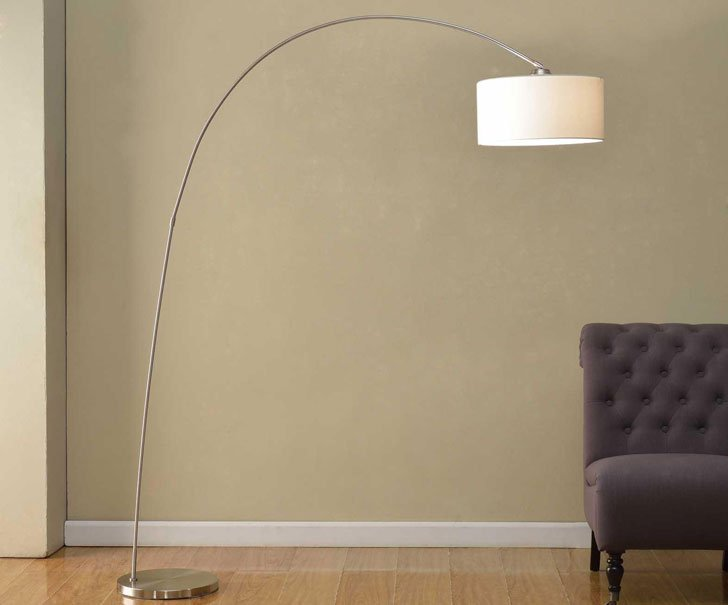 Adelina Arched Brushed Steel Floor Lamp