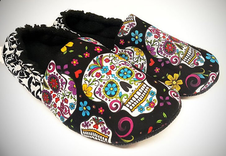 Adult Sugar Skull Slippers