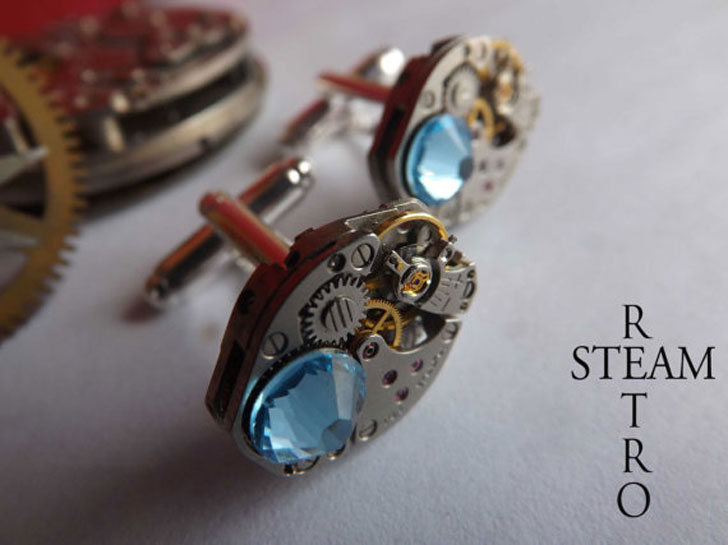 Aquamarine Steampunk Cufflinks