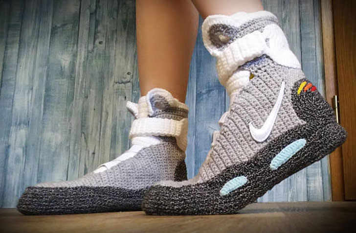Back To The Future Knitted Crochet Slippers