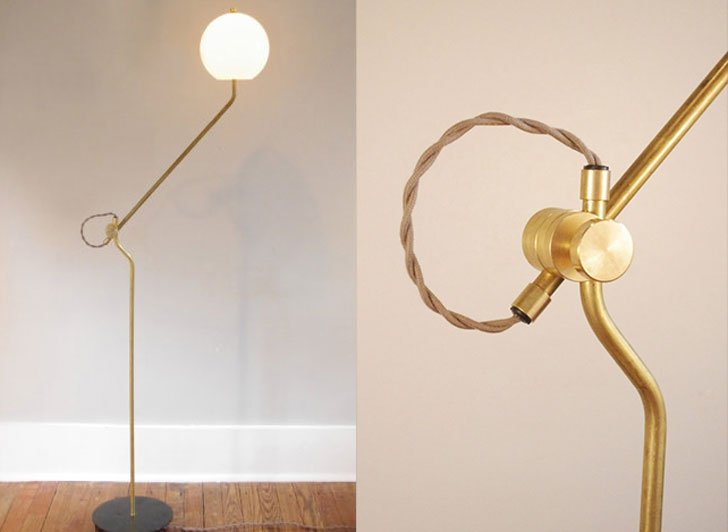 Bent Brass Floor Lamp with Opal Globe Shade