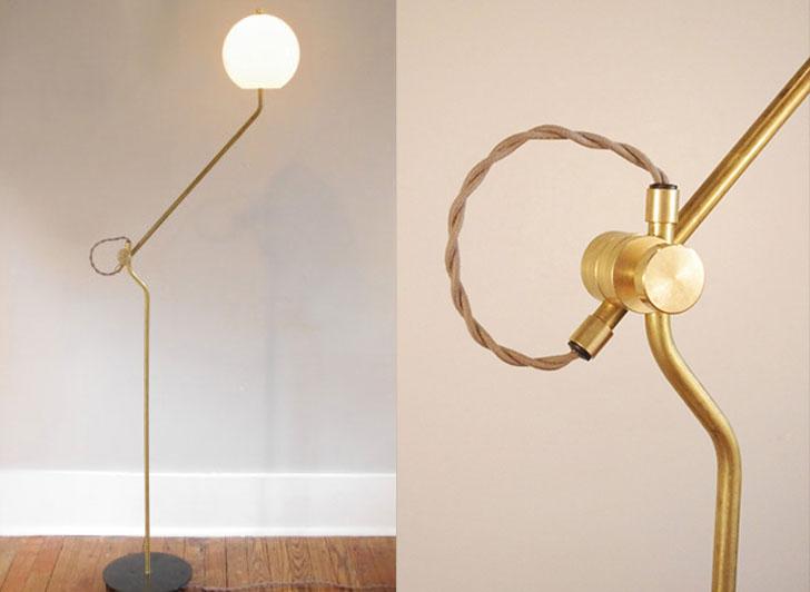 Bent Brass Floor Lamp with Opal Globe Shade