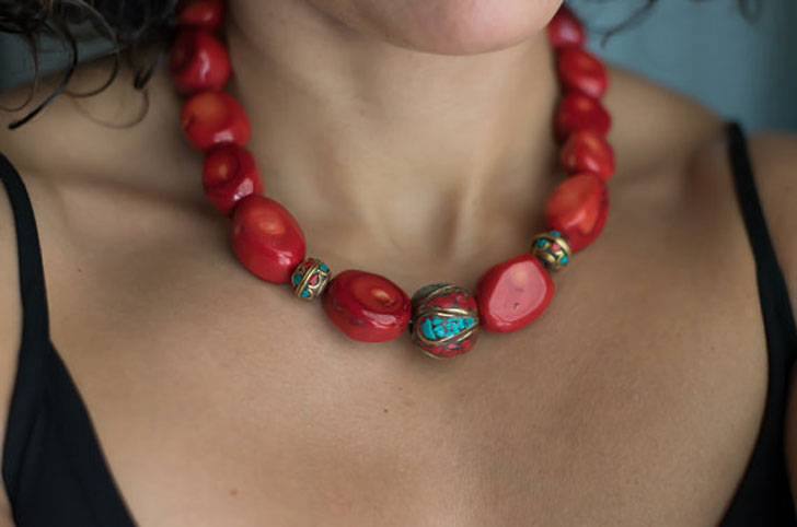 Big Bold Chunky Red Coral Necklace