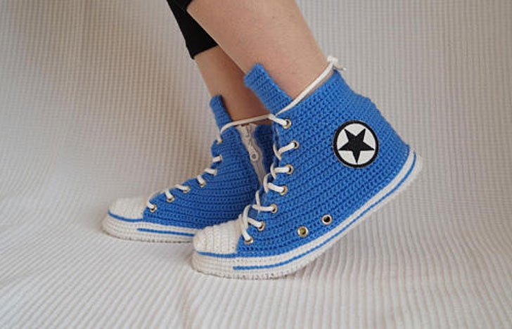 Blue Converse Crochet Slippers