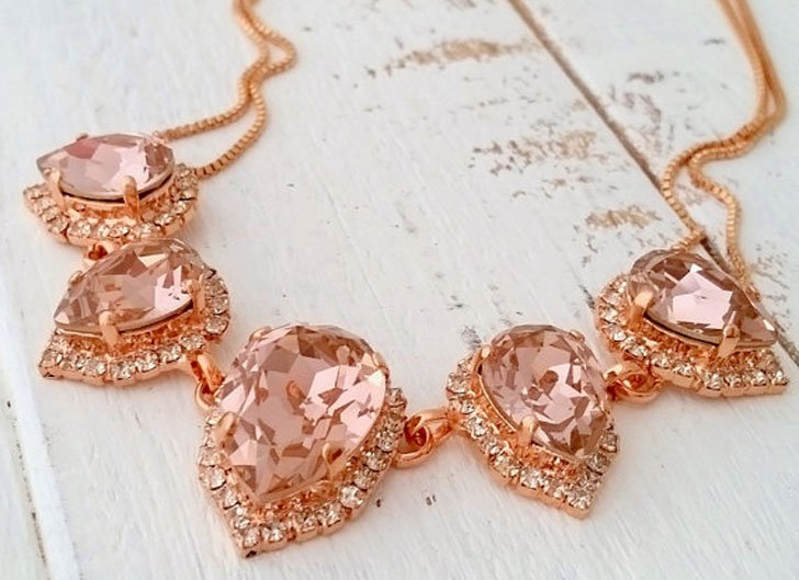 Blush Rose Gold Morganite Swarovski Statement Necklace
