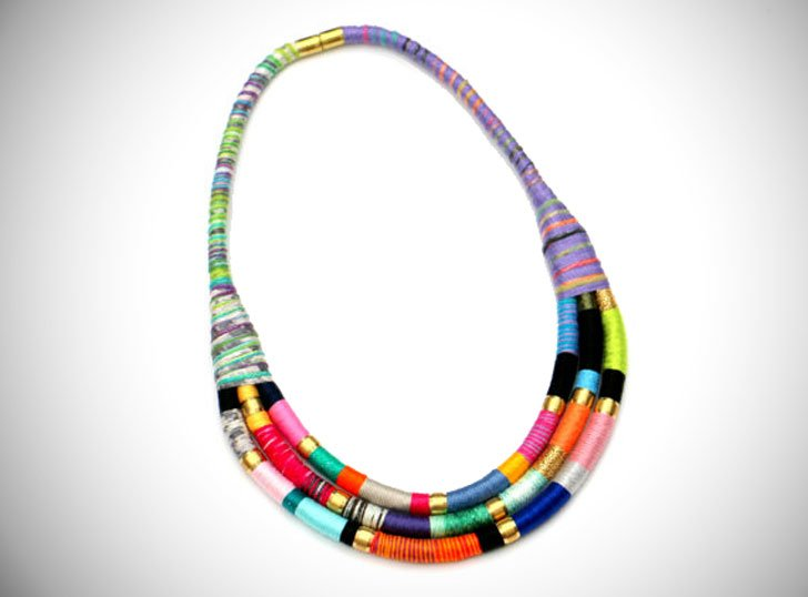 Bold Colorful Fabric Bib Statement Necklace