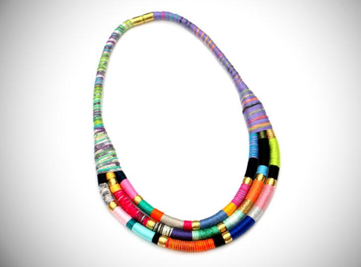 Bold Colorful Fabric Bib Statement Necklace