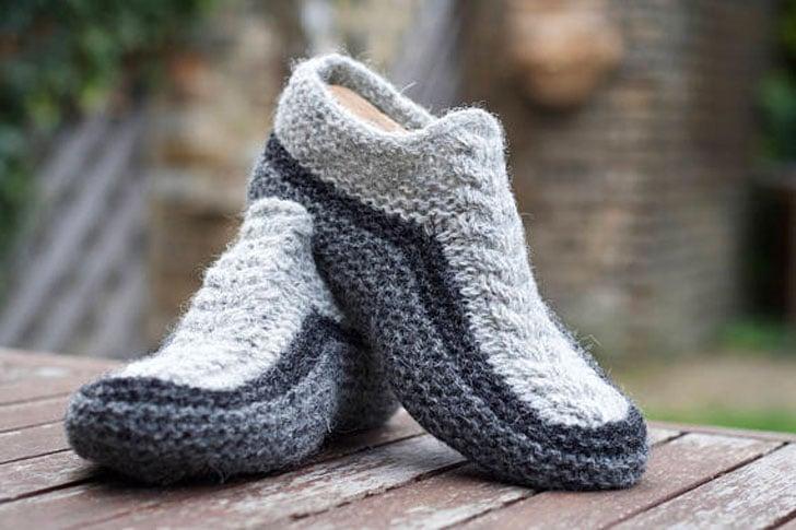 Chunky Shetland Wool Slipper Socks