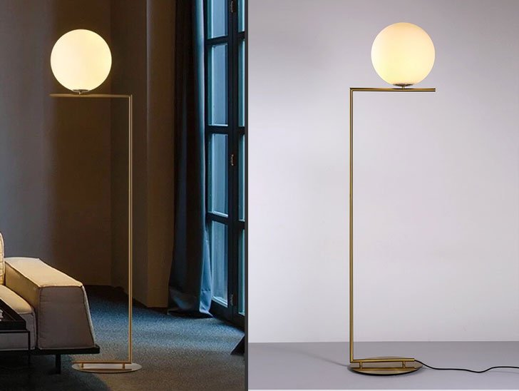 Contemporary LED Globe Linear Floor Lamp