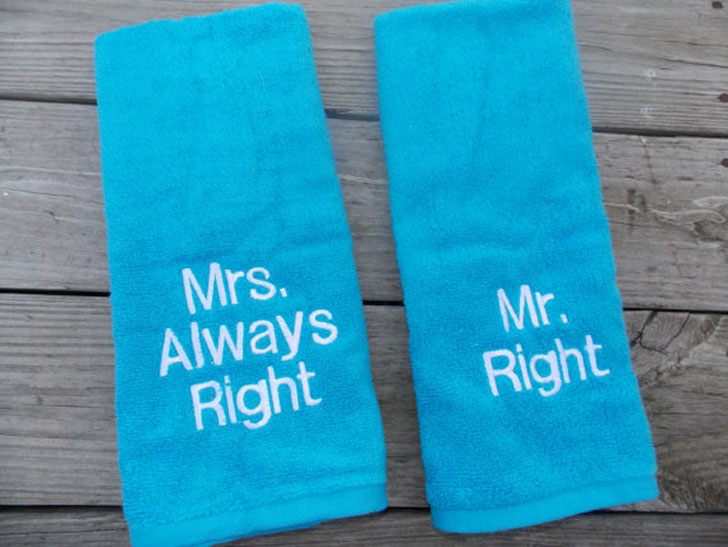 Couples Personalised Hand Towels