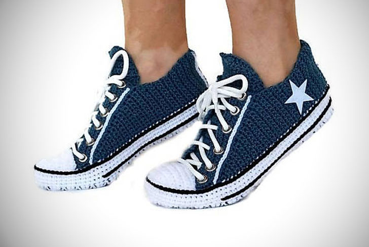 Crochet Knitted Navy Converse Low Top Slippers