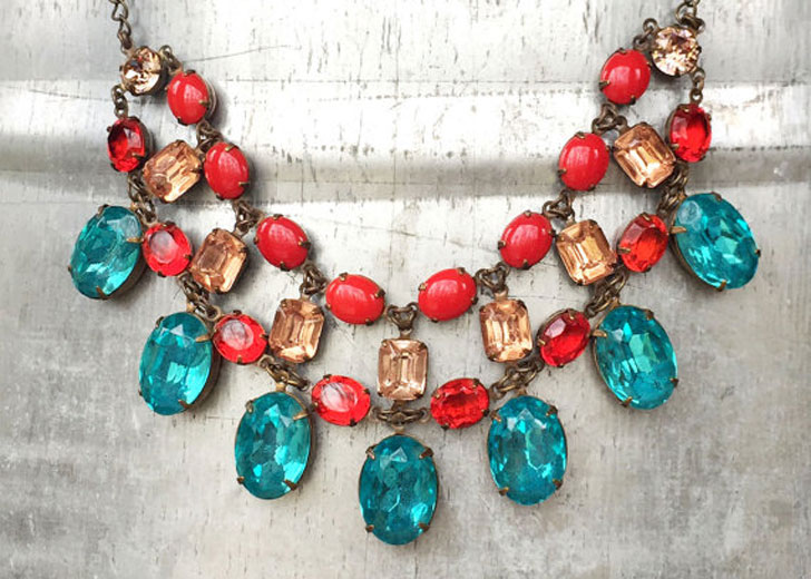 Crystal Multi Stone Statement Necklace